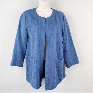 Eileen Fisher Cotton Linen Cottagecore Open Kimono